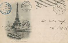 Carte postale de la Tour Eiffel en 1900 à lExposition Universelle avec à ses pieds le Globe Céleste