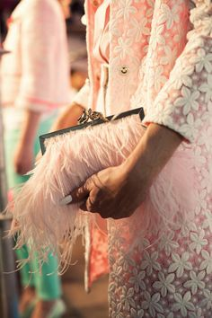 ❥ pink feather purse