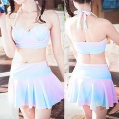 S-XL pastel princess shell bikini Set
