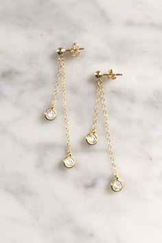 Galaxy Earrings - Christine Elizabeth Jewelry #bridal-earrings #channel-set-earrings #dainty-jewelry