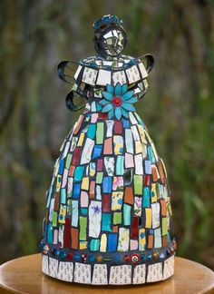 Whimsical Mosaic Garden Flower Fairy Goddess Angel Statue One of a Kind