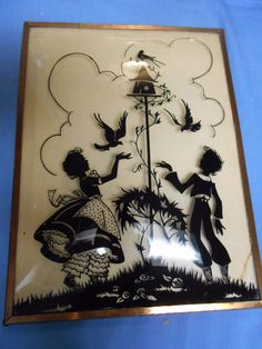 Antique Silhouette Reverse Painted Convex Bubble Glass Picture Playing Children | eBay