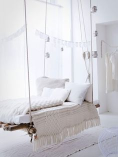 white swing bed, bedroom, white bedding, comfy