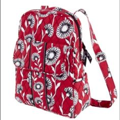 53b8fda3ee Vera Bradley Deco Daisy Backpack Red with black and white flowered pattern.  Has a hidden