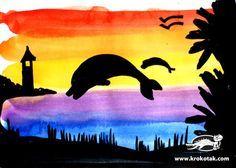 Groep 5/6 - Zonsondergang (kleurovergang) met silhouet maken m.b.v. waterverf en papier