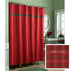 Red And Green Plaid Christmas Shower Curtain By Lorraine Home Fashions