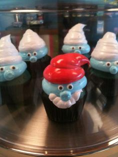 Smurf cupcakes by Heavenly Cupcake Shop  in Elmhurst, IL
