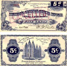Obsolete bank note & private scrip issued by State ~ Utah