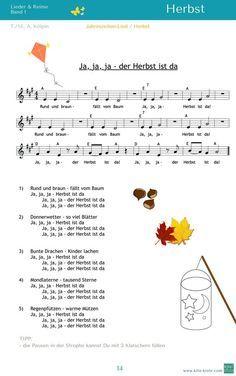 """""""Ja, ja, ja - der Herbst ist da"""" - ein Lied für alle Jahreszeiten - aus """"Lieder & Reime 1""""mit Tipps zur und Spielideen / www.kitakiste.jimdo.com"""