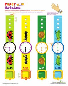 Worksheets: Practice Telling Time with Play Watches: 6 O'Clock