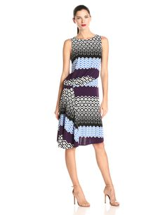 Donna Morgan Women's Sleeveless Printed Asymmetrical Drape Pleated Dress, Eggplant Multi, 4