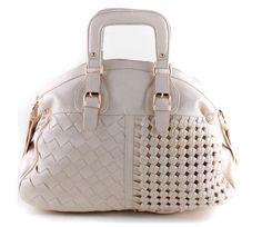 Purse-tensity: Tan Cream Square Handle Checker Braided Handbag Purse