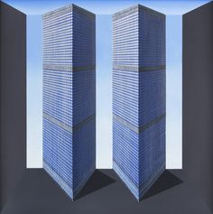 Patrick Hughes, Twin Towers, 2016, Flowers