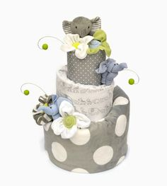 Elephant Baby Shower Diaper Cake, Topsy Turvy Style, Gray Classic ...