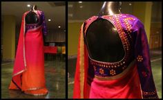 Mirror worked raw silk blouse with shaded chiffon sari.Custom Designer Blouses - Studio149 by Swathi