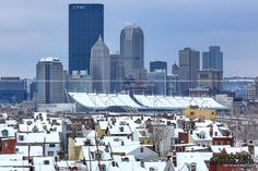 Pittsburgh skyline from Troy Hill with snow