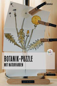 Selbstgemalt - mit den Farben aus der Küche!  Das einfache und schöne Botanik-Bild ist Puzzle, Lernkarte und Bild in einem und duftet herrlich nach den Gewürzfarben! Diy Upcycling, Puzzle, Home Decor, Bricolage, Green Ideas, Natural Colors, Botany, Puzzles, Decoration Home
