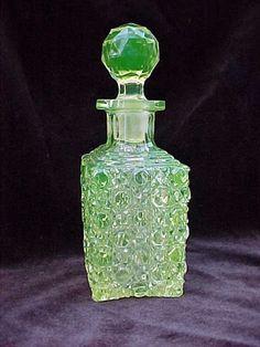 Yellow Vaseline Glass Cologne Bottle Small Decanter w Stopper Cane Pattern | eBay