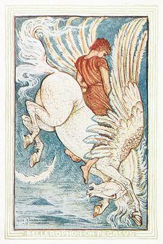 Bellerophon on Pegasus - Walter Crane c. 1892