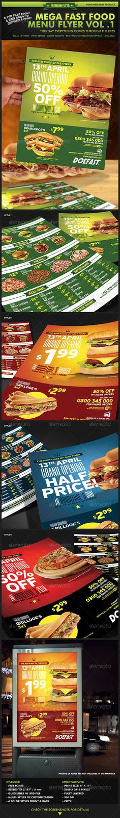 Buy Mega Fast Food Menu Flyer Vol. 1 by GunzKingzArt on GraphicRiver. This Flyer is an exclusive design by Iván Díaz of GunzKingzArt Studios to GraphicRiver community. Menu Design, Food Design, Flyer Design, Menu Flyer, Flyer Layout, Promo Pizza, Promo Flyer, Fast Food Menu, Packaging