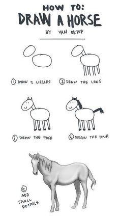 Como dibujar un caballo. How to draw a horse