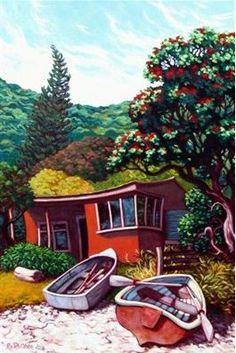 Giclee prints and cards from New Zealand paintings Nz Art, Art For Art Sake, New Zealand Art, Hawaiian Art, Art Folder, Kiwiana, Marker Art, Whimsical Art, Beach Art