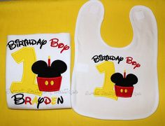 SHIRT BIB SET birthday custom embroidered by SweetSouthernB Mickey Mouse first birthday http://www.facebook.com/sweetsouthernboutique