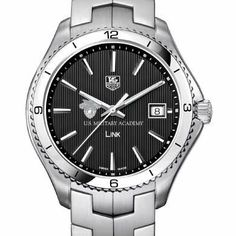 """West Point TAG Heuer Men's Link Watch with Black Dial by TAG Heuer. $2595.00. Officially licensed by the US Merchant Marine Academy. Classic American style by M.LaHart. West Point Men's TAG Heuer Link watch with U.S. Military Academy crest in white on black dial; """"U.S. Military Academy"""" is written underneath. Brushed steel bracelet with deployment clasp. Solid Steel case (40mm diameter). Luminescent hands and indexes for optimum readability. Screw-in crown and..."""
