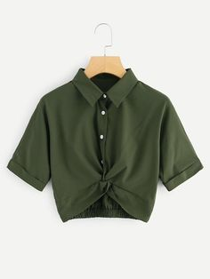 Shop Twist Front Cuffed Blouse at ROMWE, discover more fashion styles online. Kpop Fashion Outfits, Girls Fashion Clothes, Mode Outfits, Outfits For Teens, Girl Outfits, Tween Fashion, Girl Fashion, Crop Top Outfits, Cute Casual Outfits