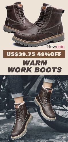 19dcab6b98  49%off Men Outdoor Slip Resistant Warm Plush Lined Work Ankle Boots.