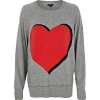 Grey heart print jumper