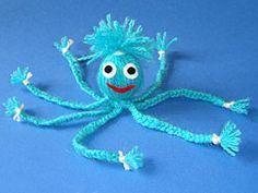 Octopus of wool - basteln - Handwork Arts And Crafts Projects, Design Crafts, Diy And Crafts, Crafts For Kids, Pipe Cleaner Animals, Theme Noel, Hand Art, Kraken, Yarn Crafts