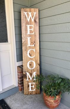 Welcome wood sign - 6 tall decor home diy Welcome Wood Sign, Outdoor Welcome Sign, Welcome Home, Diy Vintage, Vintage Decor, Diy Casa, Creation Deco, Diy Décoration, Easy Diy