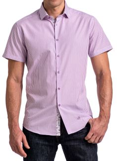 Turmec » mens short sleeve pink dress shirt