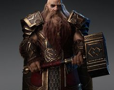 Dwarf Warrior by HoOman · · Learn Fantasy Dwarf, Medieval Fantasy, Dwarf Paladin, Fire Crown, Animation Tutorial, 3d Character, Wizards, Fantasy Characters, Rogues