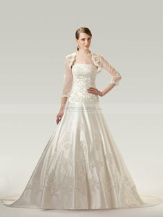 Debbiedeborah - Beaded and Sequined Appliqued Satin Wedding Dress with Wrap