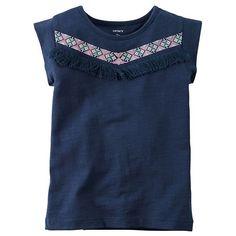 Girls 4-7 Carter's Embroidered Aztec Fringe Tee