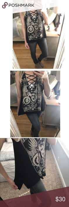 8aa24b31a3 Spotted while shopping on Poshmark  ‼ Clearance Motorcycle Lace Up Tank!