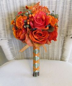 Hey, I found this really awesome Etsy listing at https://www.etsy.com/listing/75860757/fall-wedding-bouquet-in-rust-and-orange