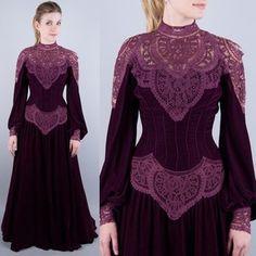 Antique Vtg 1880s Wine Silk Velvet Lace Corset Bodice Gown Party Dress XXS XS | eBay