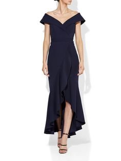 Lola Navy Stretch Crepe Gown – Montique Mother Of The Bride Looks, High Tea Dress, Halter Gown, Navy Fabric, Hemline, Ruffles, Shoulder Dress, Glamour, Gowns