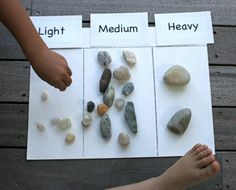 rock sorting. Sort by weight, color, and size.... Thinking this could be fun to extend for the Moh's scale and other mineral ID
