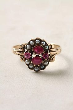 Victorian Ruby & Pearl Ring - anthropologie.com