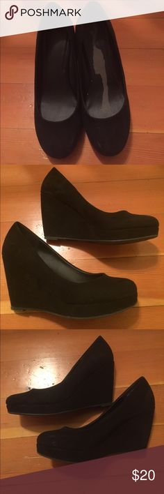 Black Platform Wedges Size 5.5, worn 3-4 times. Minimal wear and tear that can be seen in pictures. Minimal scratches, no major gouging. Super cute for work!! Unfortunately I wear foot petal inserts with all my shoes, so my foot was never bare, but when I was removing the insert so I could sell them it damaged the inside of shoe lining:( This was not from me wearing just from removing the insert. Apt 9 Shoes Wedges