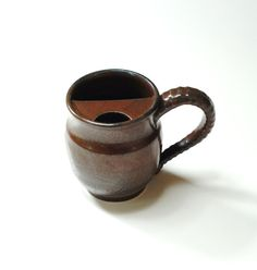 Clay mustache mugright handed cupmovember mugbrown by Emburr, $38.00
