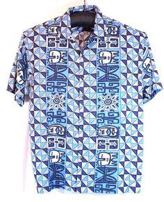HOBIE Hawaiian Camp Tiki Island Loud Shirt Blue White  XL  #Hobie #Hawaiian