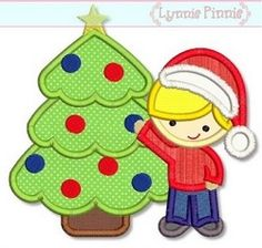 Tree Trimming Boy Applique - 3 Sizes! | Christmas | Machine Embroidery Designs | SWAKembroidery.com Lynnie Pinnie