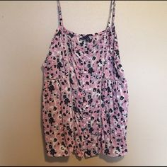 Flowered Tank Top Pink and blue flowered pattern tank top. Has buttons down the front.  •Reasonable offers considered! •No trades! •Pet Free! •Smoke Free! American Eagle Outfitters Tops Tank Tops