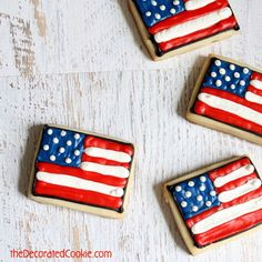 how to make American flag decorated cookies for the 4th of July