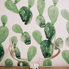 Watercolor Cactus - Large Wall Mural, Watercolor Mural, Wallpaper